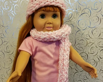 18 Inch Doll Clothes Accessories- Pink and White or Blue and White Hand Knit Hat w/ pom-pom, with Matching Scarf