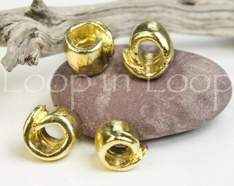 Mykonos Greek 24K Gold Plated Ceramic Tube Beads Hand formed Rolled irregular spiral bead 13 X 9 mm Spacer Bead for 5mm cord 2pcs
