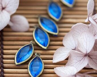 Vintage Pear Shaped Glass Royal Blue Rhinestone Charms 18mm by 8mm