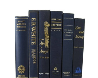 Vintage Books, Blue Books, Old Books, Home Decor, Book Sets,  Wedding Decor, Book Lover Gift, Stage Props, Book Stack, Decades of Vintage