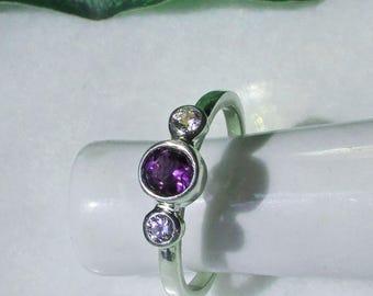 Amethyst Diamond Ring, 14k Solid Gold, Amethyst Birthstone Ring, Diamond Ring, February Gift, Aquarius Gift, Promise Ring, Purple Gemstone