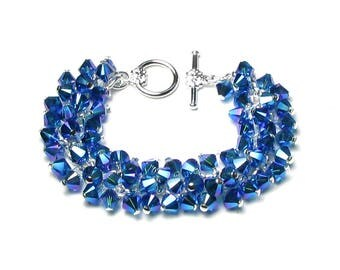 Capri Blue AB2X Swarovski Crystal Cluster Silver Chain Charm Bracelet Metallic Shimmer Summer Wedding Mermaid Jewelry Romantic Gifts Women