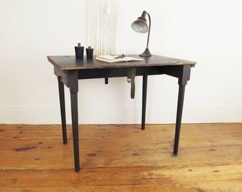 antique folding table, wood desk, folding craft table,wooden desk, industrial wood table, work table,sewing table, party table, dining table