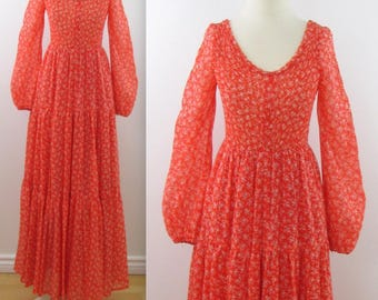 Prairie Maxi Dress - Vintage Boho Festival Dress in Tangerine Orange - Small Medium by House of Nu-Mode