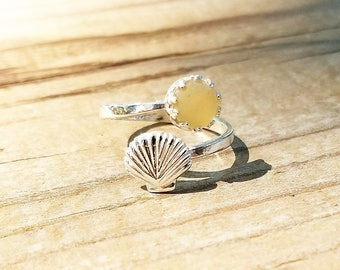 Genuine Beach Sea Glass Sterling Silver Shell Ring - 6mm Yellow Sea Glass