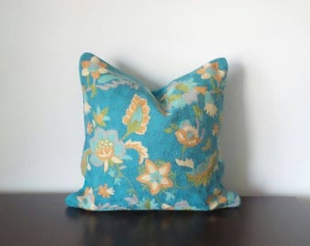"Decorative Pillows, 100% Wool, Cyan Color Pillow, Floral Pillow, Crewel Embroidered Pillow, Available in 1 Size - 20"" x 20"" - READY TO SHIP"