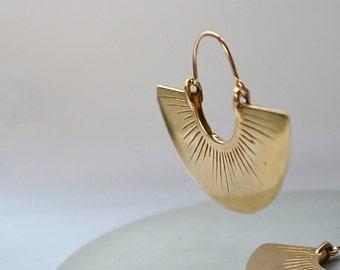 Shine // Fan earrings, semicircle radial hoops
