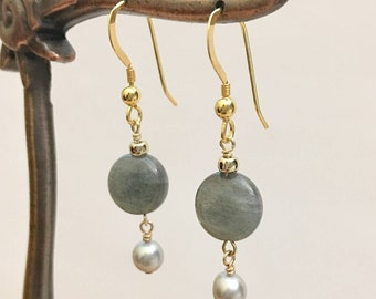 925 Sterling Silver Earrings, 10 mm Labradorite & 5 mm Gray Pearl with Silver ear wire in gold plated