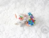 Polymer Clay Floral Dragon Figurine / Cute Dragon Collectible / Miniature Dragon Sculpture In White