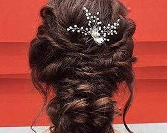 Bridal Hair Pin Hair Accessories Crystal Hairpiece Silver Bridal Pin Bridal Accessories Wedding Hairpiece Bridesmaids Hair Pin  Pearls Pin