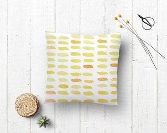 Watercolor pillow case - Fall decor pillowcase - cushion soft and warm tonalities -  design painted with watercolors - Yellow pillowcase