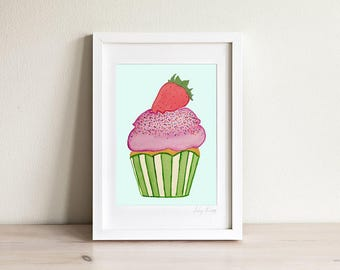 Cupcake Print, Cupcake Wall Art, Girls Room Prints, Girls Room Decor, Wall Art for Girls, Kids Art, Kids Prints, Gifts for Girls, Framed
