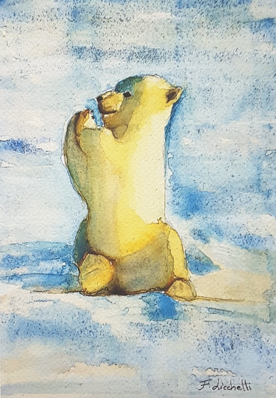 Little polar bear, puppy, original watercolor, giclee fine art print, A5, nursery decoration, children bedroom, gift idea for baptism, birth