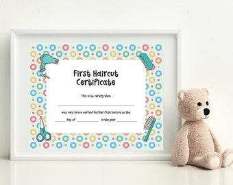 Baby First Haircut, Photo Certificate, Haircut Certificate, First Haircut Certificate, Christmas Gift, Baby gift, PRINTABLE art, 8x10 format