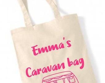 Personalised caravan bag, Personalized bag, Camper, holiday, vacation ,beach , shopper , tote bag , bag for life , natural , gift ,