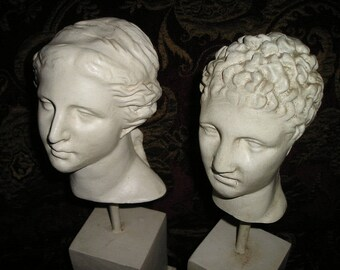 Vintage Fabulous Old World Busts/Heads.Roman/Byzantine Figure Heads on Stand.