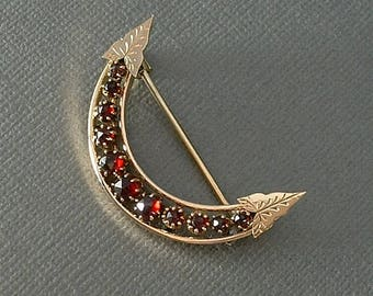 Antique VICTORIAN Bohemian GARNET Brooch CRESCENT Moon Pin Rose-Cut Garnets Engraved Leaves c.1890's, Gift Woman