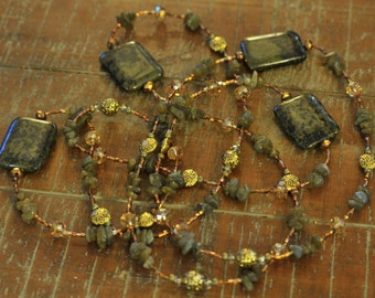 Natural Green Stone, long necklace with Labradorite, can be a Loop-able, layered, wrapped necklace with crystal, glass and gold toned pieces
