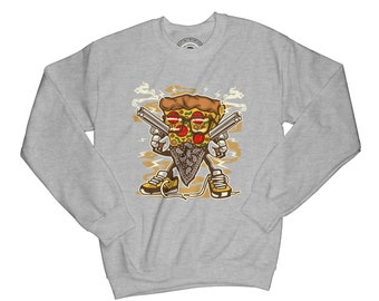 Gangster sweatshirt pizza sweatshirt food sweather funny pullower pizza clothing junk food hoodie crew neck sweather urban sweatshirt  APV44