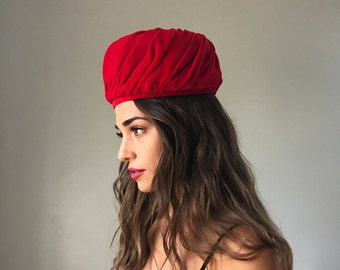 Vintage 60's Red Velvet Pillbox Hat