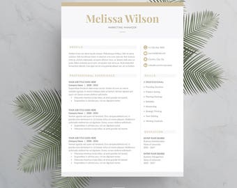 Resume Template 4 page | CV Template + Cover Letter for MS Word | Instant Digital Download | 'Melissa'