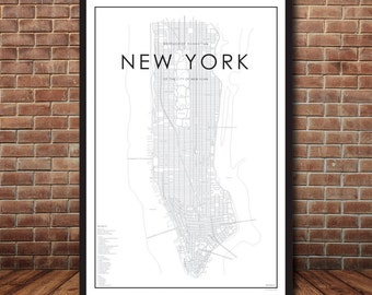 New York City Map, Map of Manhattan, New York Print, Map Poster, NYC Map, New York Map, Manhattan Map, Street Map, Map of NYC