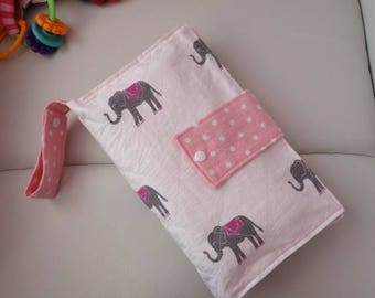 Cute playful  Elephant  pattern ,Diaper clutch Bag,  Baby changing pad, Travel changing pad, Double-sided cotton