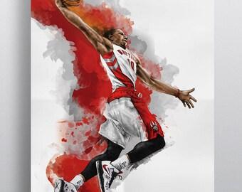 Demar Derozan of the Toronto Raptors illustration poster art