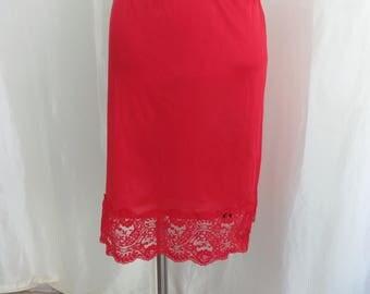 Vintage red half slip, lace trim, size M L, 90s lingerie, Applause