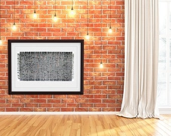 Black Paper Weaving- 24x48- Abstract Art- Black, Grey, Copper, White- Large Wall Art