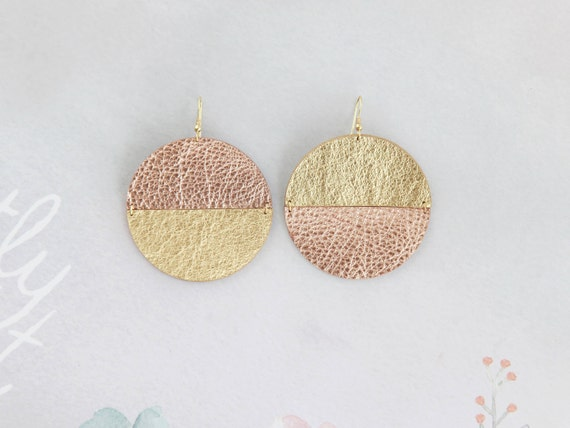 Large mismatched disc earrings- gold and rose gold drop earrings- big circle leather earrings- Aztec earrings- bohemian minimalist earrings