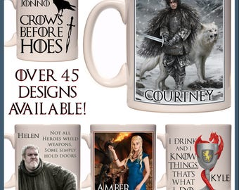 Personalised Game of Thrones Mug - Ceramic Coffee or Tea Mug - With any Name or Message - Gift Idea - Jon Snow, Stark, Arya, Daenerys