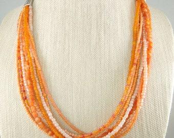 Multi strand beaded necklace, Salmon beaded necklace, orange beaded necklace, Beaded necklace, Free Shipping, Item #568