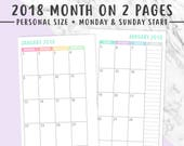 PERSONAL 2018 MONTHLY PLANNER Printable | Month On 2 Pages, Monthly Planner, Monthly Inserts, Printable Calendar, Filofax, Instant Download