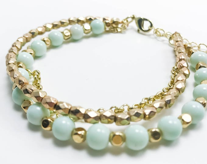 Featured listing image: Mint and Gold Triple Strand Beaded Bracelet