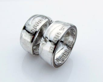 Ben Franklin Coin Ring, Half Dollar, SILVER, Unique Engagement Ring, Wedding Ring, Coin Jewelry, Mens,Band, Mans, Rings