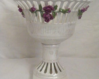 Porcelain Decorative Urn Accented with Purple Roses and Cut-out Accents