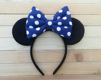 Dark Blue Stuffed Bow Minnie Ears, Dark Blue Polka Dot Bow, Minnie Ears, Classic Minnie Ears