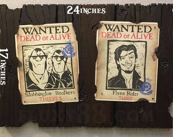 Tangled Wanted Posters  on Faux Wood Frame -  side by side (Flynn Rider)