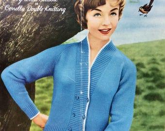 "Vintage knitting pattern 1950's Robin 781 Lady's raglan cardigan 34"" 36"" 38"" DK"