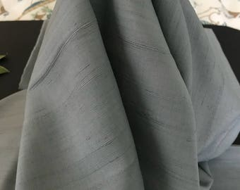 "Vintage Silk Fabric Shantung Grey Old Stock 5 Yard 32"" x 31"" Mid century, excellent condition,For clothing,costume,craft,sewing,dolls,access"