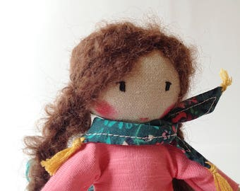 MILLA mini - Handmade Cloth doll, Rag doll - Unique doll to be dressed with scarf