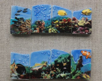 """Set 8 Bean Fèves """"Undersea world""""- Bean feves-puzzles- Porcelain/ceramic figurines- Glossy/lacquered version- Collection- Fabophilie"""