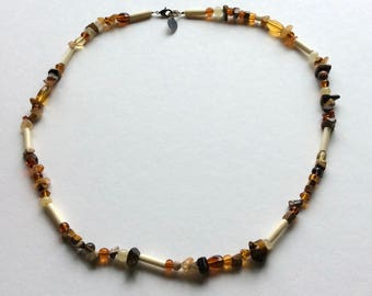 Mixed Gemstone and African Bead Necklace  Handmade by Andrea Comsky