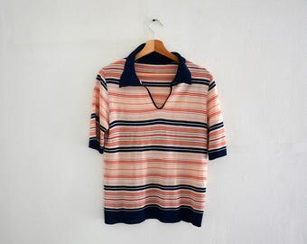 Tee Shirt vintage 80s / striped pattern / size M