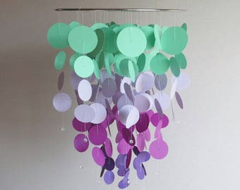 Turquoise and Lavender Mobile - purple mobile,home decor,kids,nursery mobile, baby mobile,aqua mobile,circle mobile, lavender mobile
