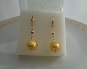Gold earrings, 585 gold filled, with Murano glass, gold leaf