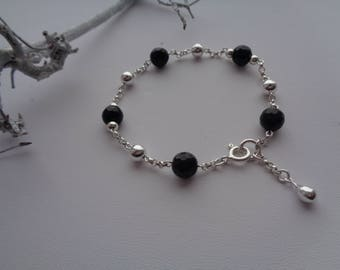 Silver bracelet with onyx, sterling silver