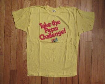 "Rare Vintage ""Take The Pepsi Challenge"" Double Sided T-Shirt Size XL 50/50 Blend"