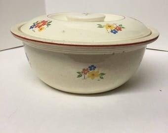 Vintage, Kitchen Kraft, oven-serve, covered casserole, dish, distressed , usa floral,antique,baking